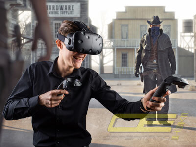 Wild West Shooting mit VR Brille in der Virtual Reality für Events und Western Partys